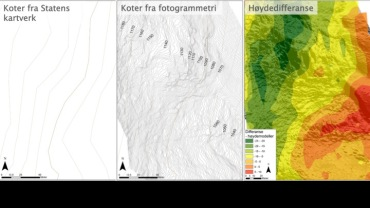 Original terrain map and map constructed by the use of drones. Halgeir Dahle